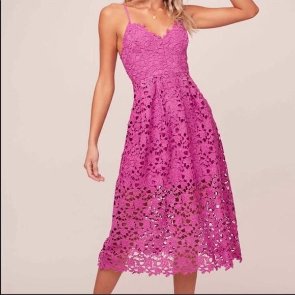 Astr Dresses & Skirts - Astr the label - fuchsia midi lace dress